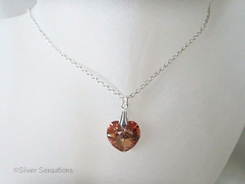 Sparkly Burnt Orange Preciosa Crystal Heart Pendant & Sterling Silver Necklace